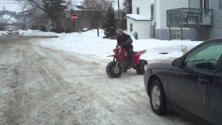 3 wheeler attacked by mad happy dog