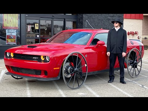 Hellcat on Horse & Buggy Wheels goes to town and does burnouts