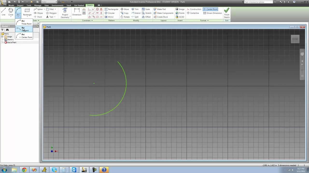 Inventor Tutorial 4, Arcs and Circles