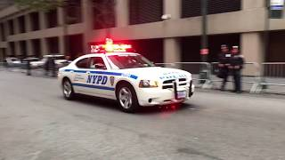 SOME LEAD NYPD UNITS FOR PRESIDENT DONALD J. TRUMP'S MOTORCADE DRIVING BY IN MIDTOWN, MANHATTAN.