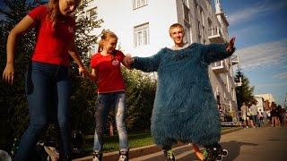 Как удивить прохожих в Омске? Мастеркласс, шоу на роликах, валиханова Омск