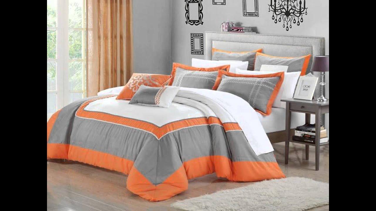 Comforter Set Queen Size Orange - YouTube