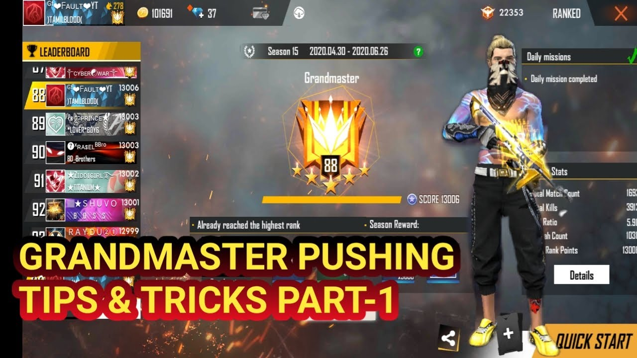HOW TO REACH GRANDMASTER #FREEFIRE PUSHING TIPS&TRICKS PART-1 TAMIL GRANDMASTER PLAYER @FAULT GAMING