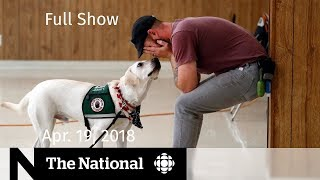 The National for April 19, 2018 — Plastic Waste, Liquor Buying, PTSD Dogs