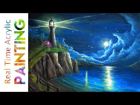 Painting a Lighthouse Overlooking a Moonlit Ocean Seascape with Acrylics