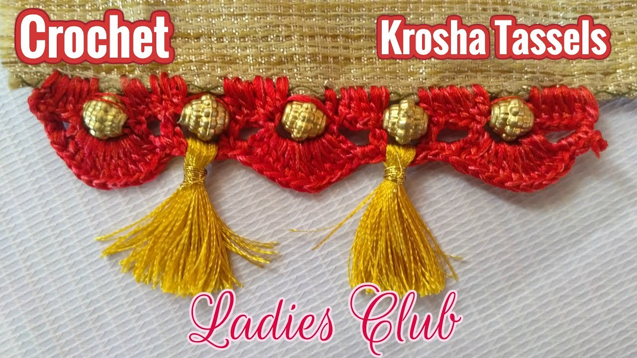 Download Krosha Tassels I Crochet I How to do Krosha Saree Kuchu with Beads - Design 2 I Detailed Tutorial