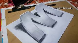 3D drawing letter M - 3d drawing easy - pencil drawings