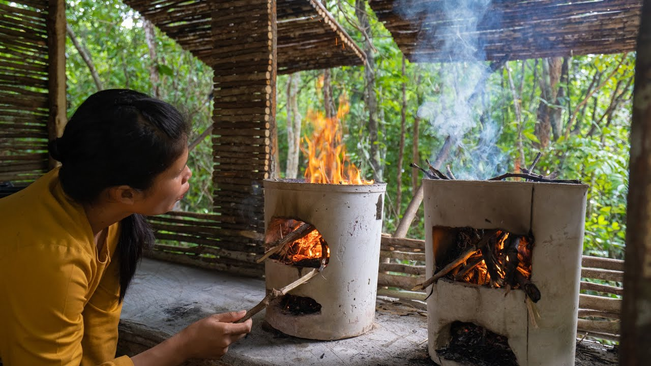 Girls Build The Most Beautiful Kitchen for Cooking, Girls Living Off Grid