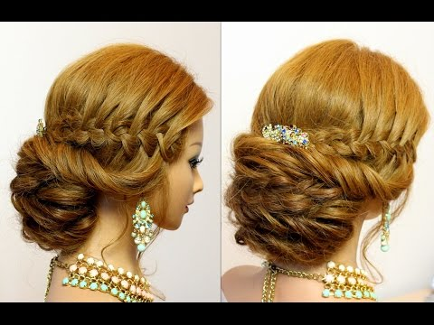 Wedding updo. Bridal hairstyles for long hair with braids.