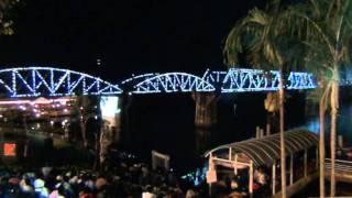 Light show and sound back in World War 2. Bridge over the River Kwai, Kanchanaburi, Thailand