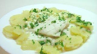 Камбала отварная с картофелем и шпигом видео рецепт. Книга о вкусной и здоровой пище