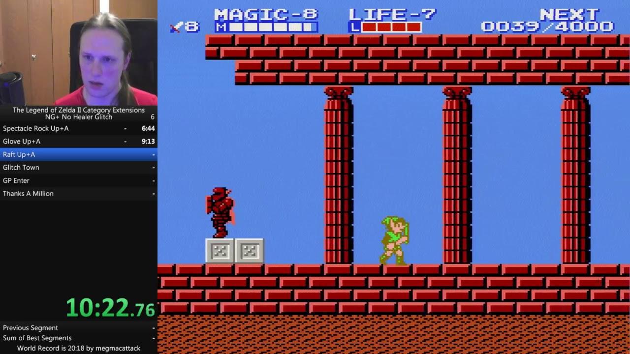 Zelda 2 - NG+ No Healer Glitch - 19:48