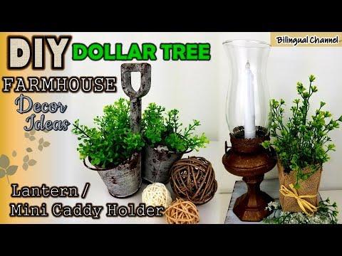 Dollar Tree DIY   Rustic Farmhouse Decor Crafts Lantern   Caddy Holder
