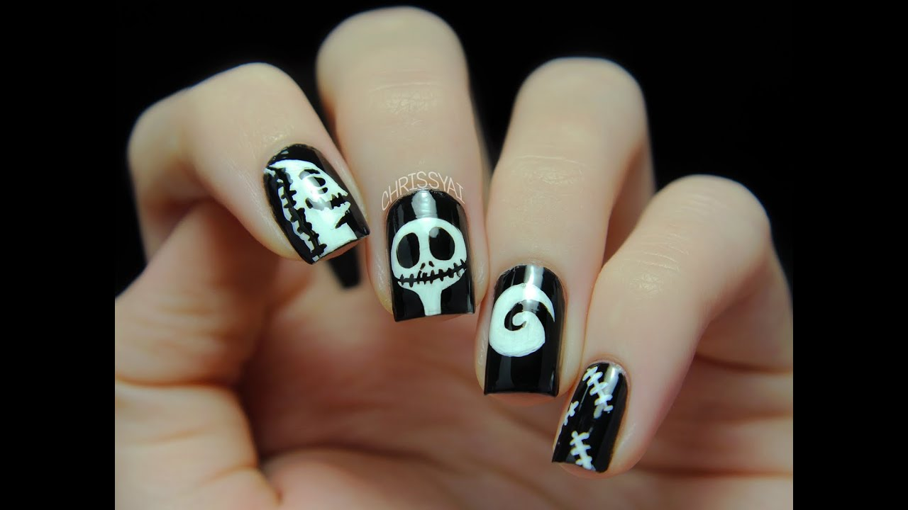 The Nightmare Before Christmas Nail Art - YouTube
