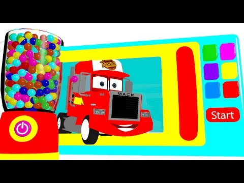 Thumbnail: Learn Colors w Microwave Mack Truck & Cars for Babies - Superheroes Surprise Eggs for Kids