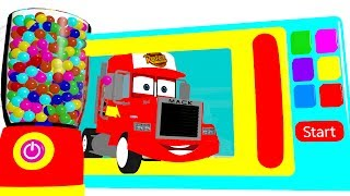 Learn Colors w Microwave Mack Truck & Cars for Babies - Superheroes for Kids