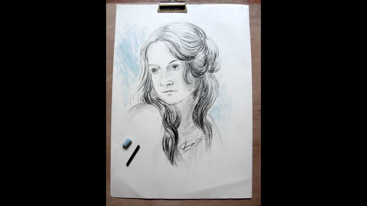 Comment Dessiner Un Portrait Ou Visage Au Fusain Pas à Pas Démonstration D Un Dessin De Portrait