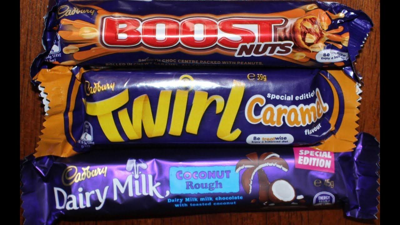 Cadbury Boost Nuts Twirl Caramel Coconut Rough Candy Bar Review