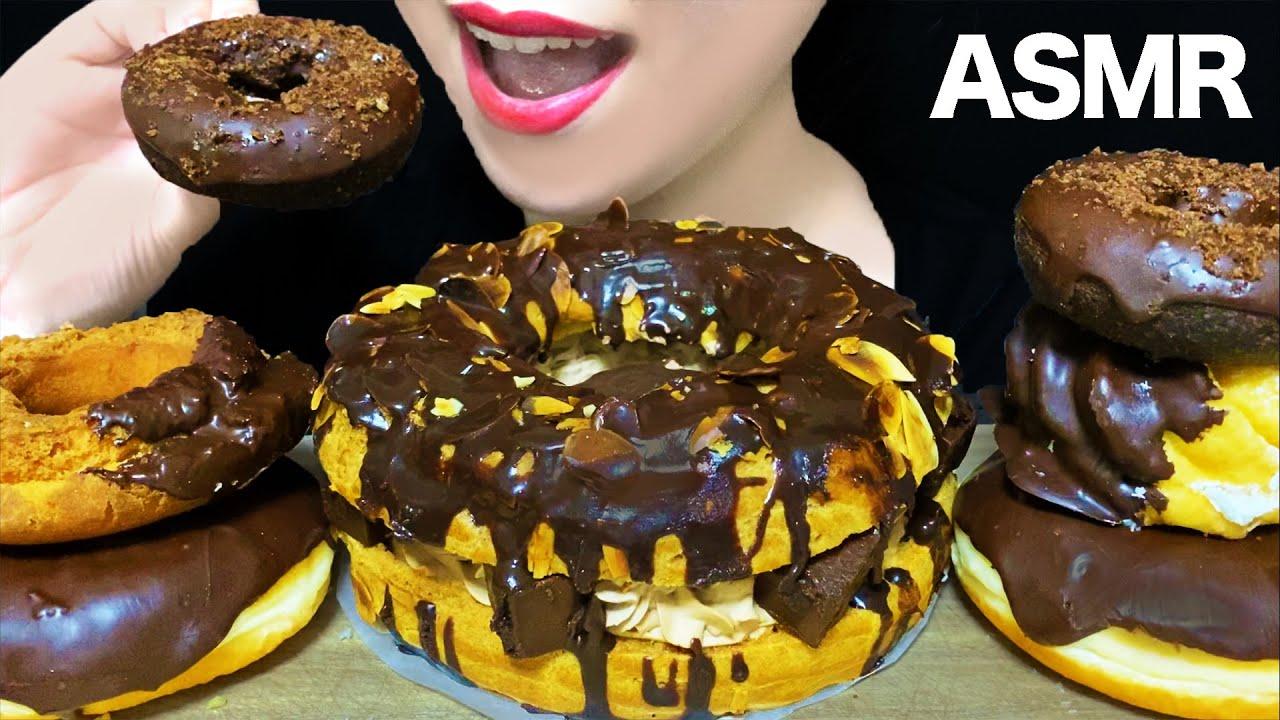 【咀嚼音/ASMR】チョコレートたっぷりのパリブレストとミスドのチョコドーナツを食べる音 Mukbung Eating Sounds モッパン CHOCOLATE Paris Brest 먹방