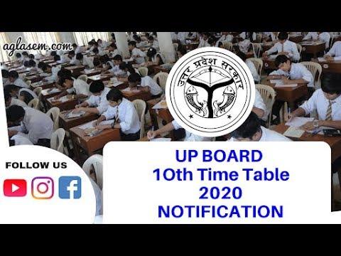 UP Board 10th timetable 2020/यूपी बोर्ड कक्षा 10 वीं समय सारणी 2020/दिनांक/समय