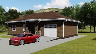 Кильпола С-025. Проект одноэтажного дома на 2 спальни с террасой и гаражом