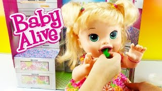 BABY ALIVE Baby Doll Super Snacks Snackin Sara Eats Play Doh and Playdough Poop Toy Video