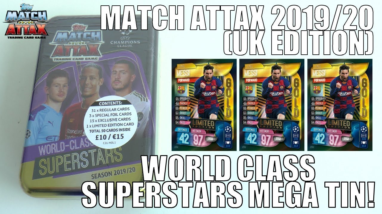 Mega Tin 2020 Card List.Messi Gold Limited Edition World Class Superstars Mega Tin Topps Match Attax 2019 20