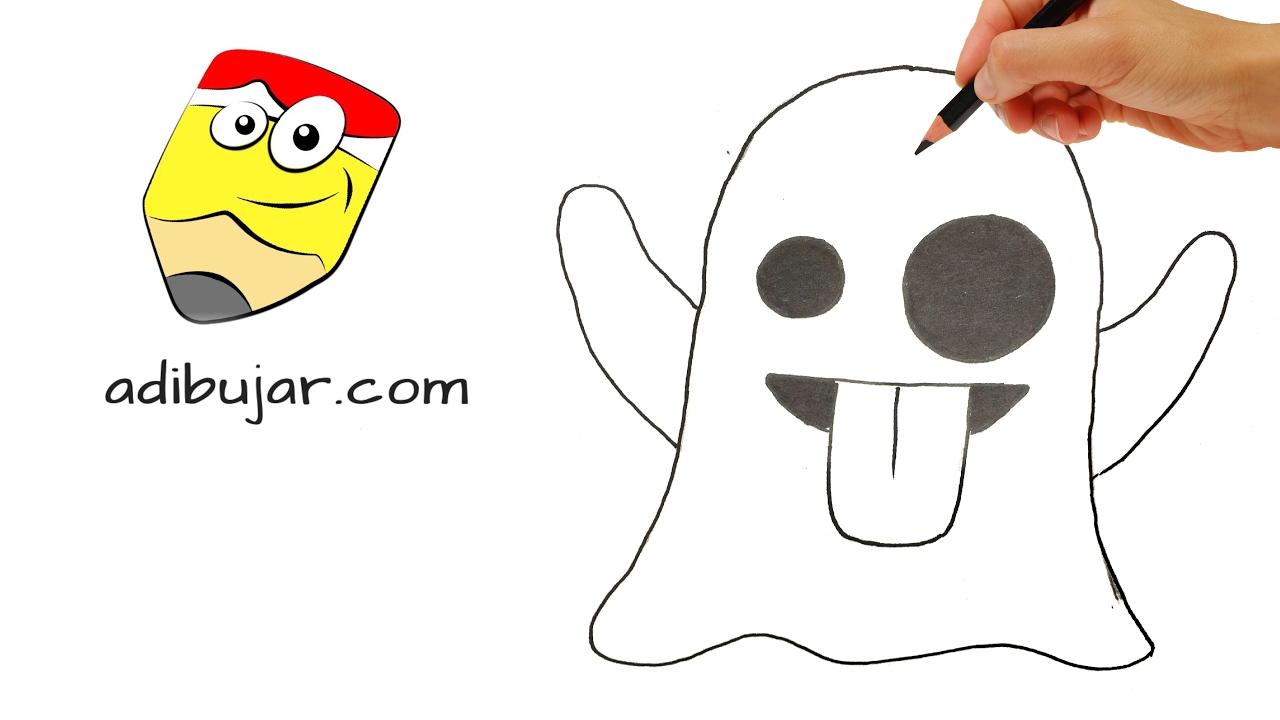 Cómo dibujar un emoji fantasma | Emoticones Whastapp | How ...
