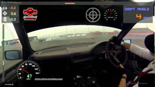 Onboard DWYB  11/03/16 Santa Pod + Data (G-Circle/Drift Angle) chasing