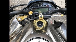 установка рулевого демпфера Hyper PRO на Kawasaki Z1000 20017 года