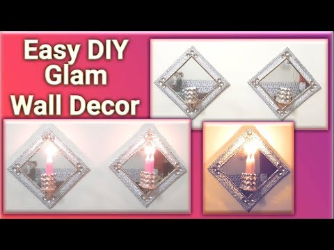 DIY MIRROR WALL DECOR | DIY GLAM WALL SCONCE | DIY EASY & INEXPENSIVE | GLAM DECOR IDEAS 2019