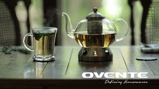 Ovente FGD51T Glass Teapot with Stainless Steel Warmer, 51 oz.