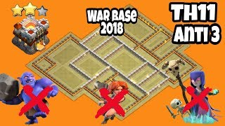 New Th11 Anti 3 Strong War Base 2018 With Replays Proof!! | Anti Bowlers | Anti Miners |