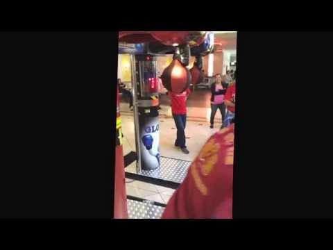 Boxer & Owner of San Francisco's Third Street Boxing Gym Paul Wade testing his hitting power.