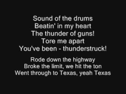Mix - AC/DC - Thunderstruck Lyrics
