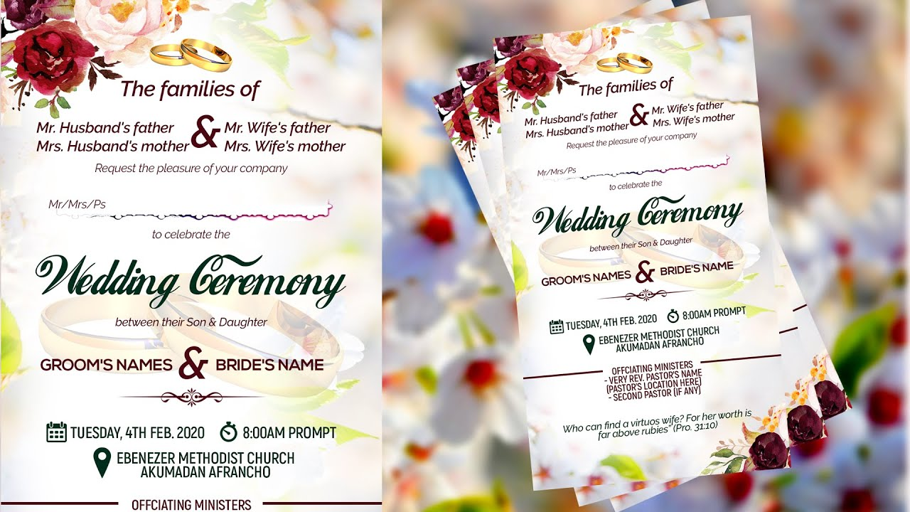 How To Design a Beautiful WEDDING INVITATION CARD  Photoshop Tutorial Throughout Church Wedding Invitation Card Template