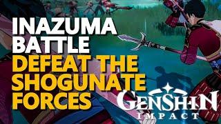 Inazuma Battle Genshin Impact Shogun vs Resistance Scene (Kujou Sara vs Gorou, Kazuha, Beidou)