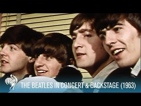 The Beatles Singing in Concert & Backstage w the Fab Four 1963  British Pathé