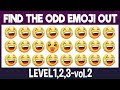 Find The Odd Emoji Out:3Levels1,2,3-vol.2| Spot The Difference Emoji| Emoji Puzzles