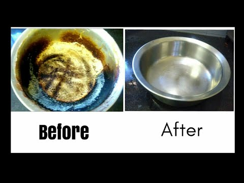 How to clean a burnt vessel / Easy method to clean / Burnt pot cleaning