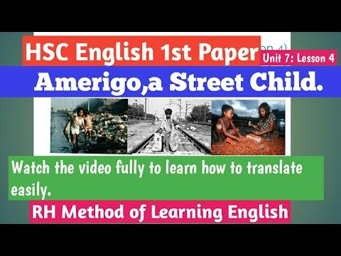 HSC English 1st Paper.Amerigo,a Street Child:Unit 8;Lesson 4