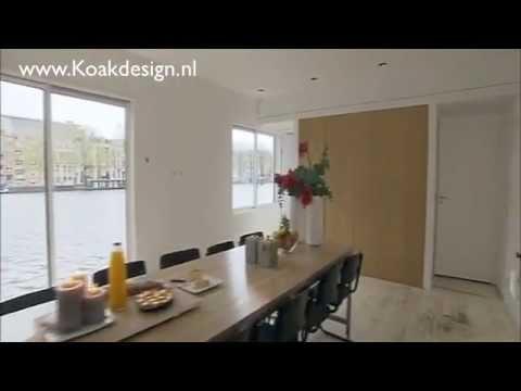Eiken houten keuken door koak design op woonboot in amsterdam met ...
