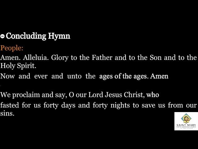 Lent Concluding Hymn