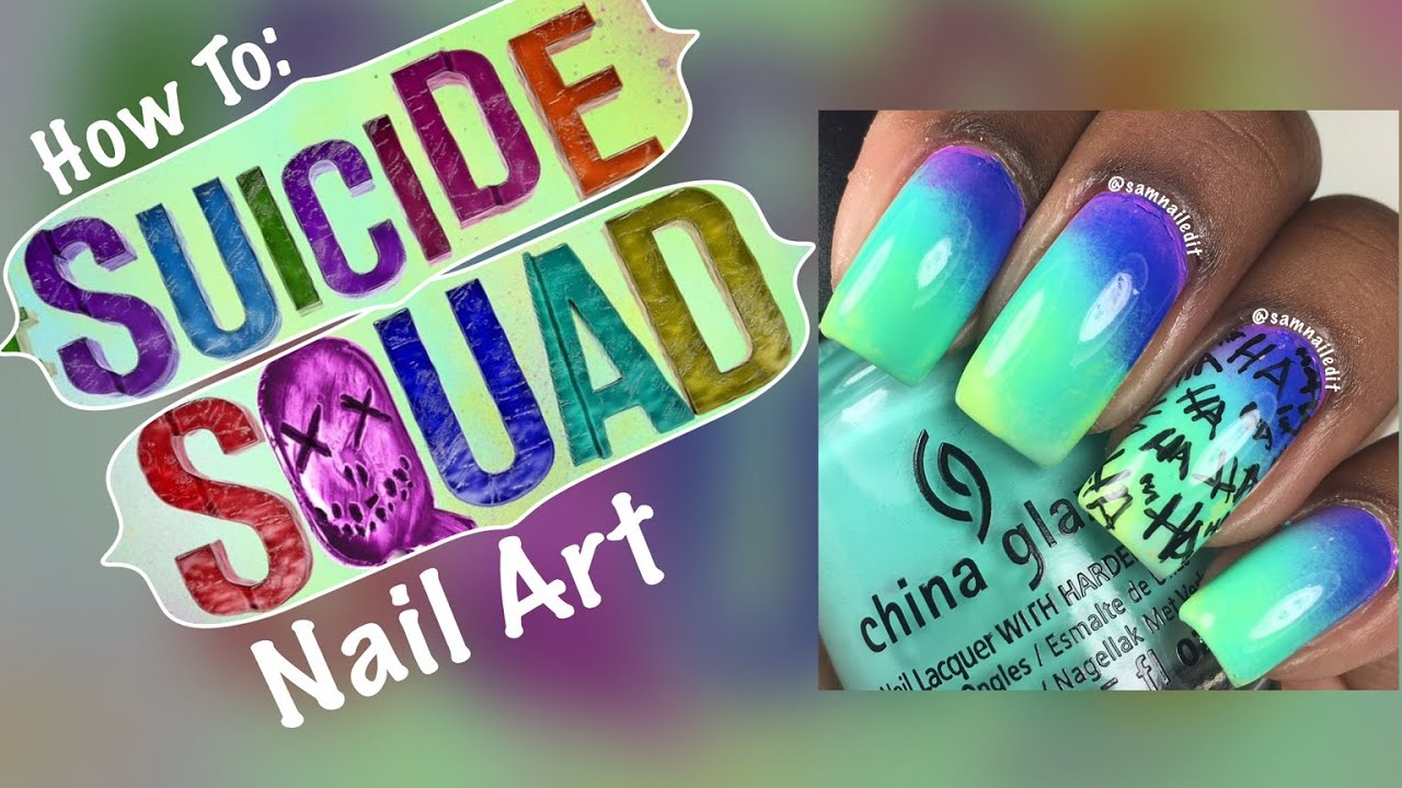 How To: Suicide Squad Nail Art - YouTube