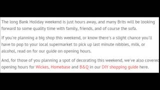 May Bank Holiday opening hours for Aldi, Asda, Lidl, .....