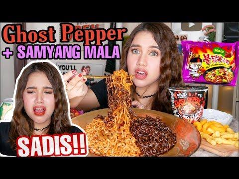 GHOST PEPPER + SAMYANG MALA = EXTREME COMBO!! CARI MATI!