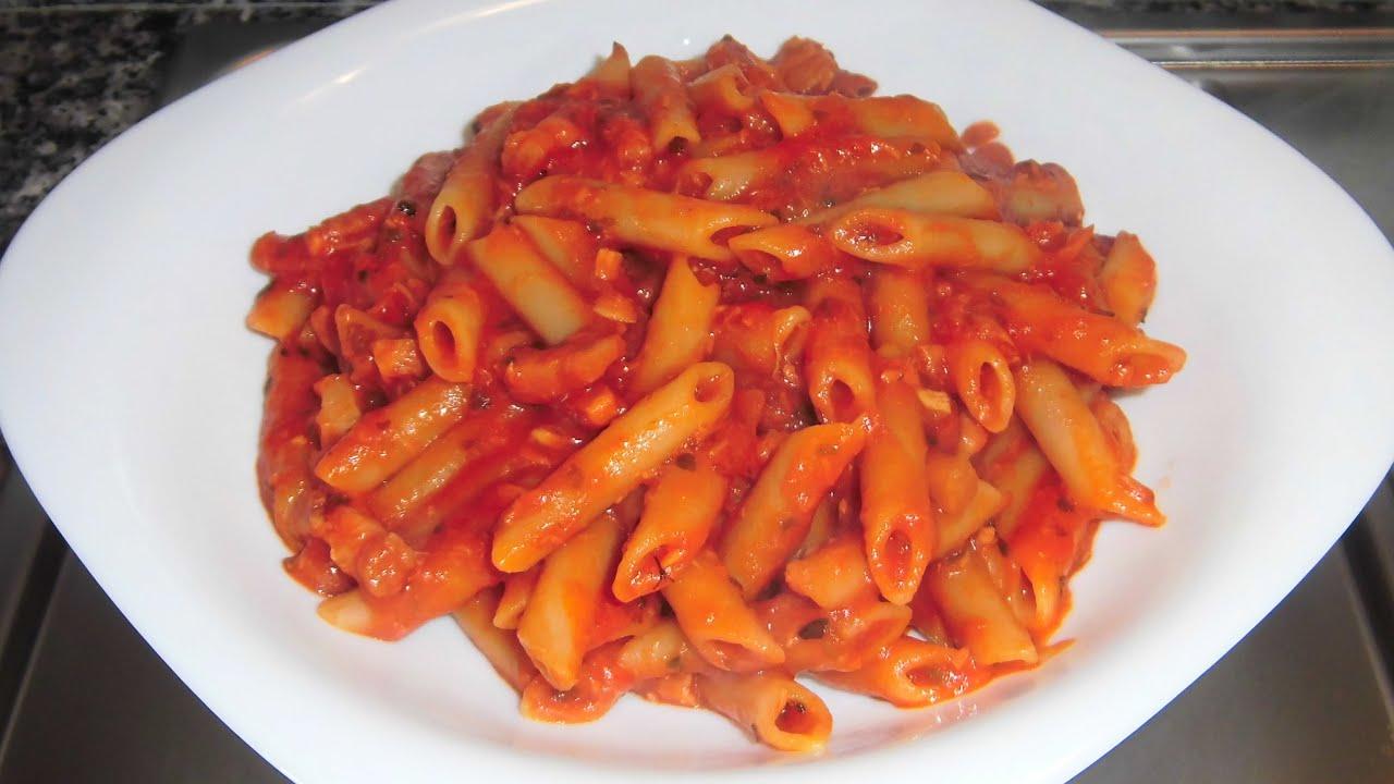 Macarrones con at n y beicon youtube - Salsa de tomate y nata ...