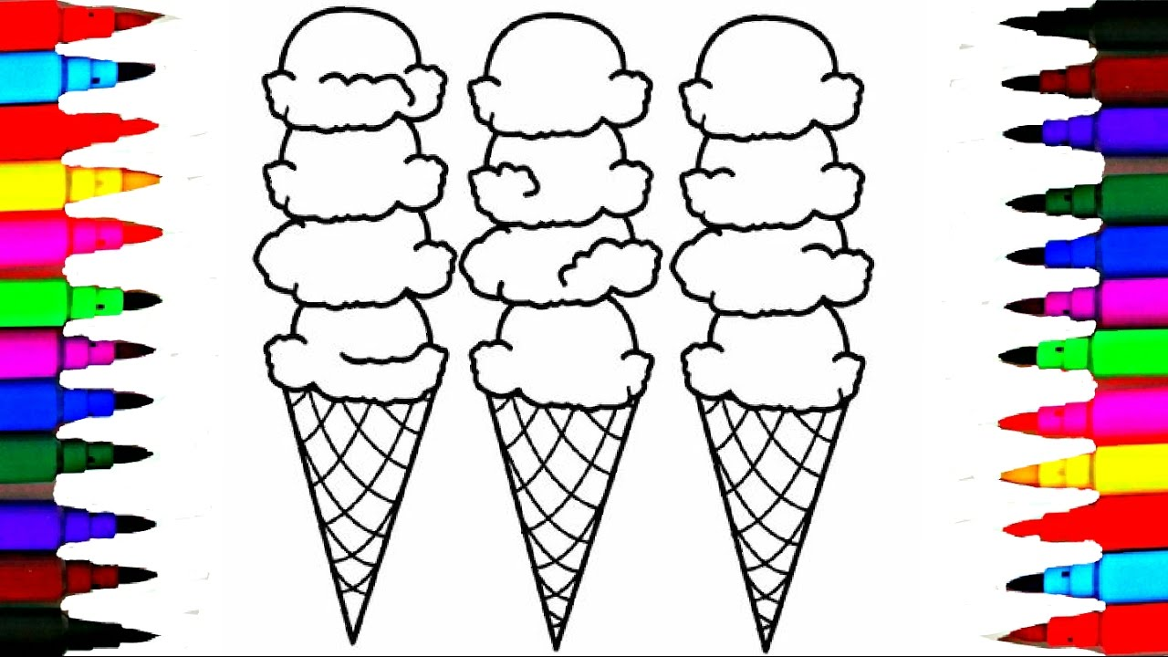 coloring pages rainbow learning color ice cream drawing l videos