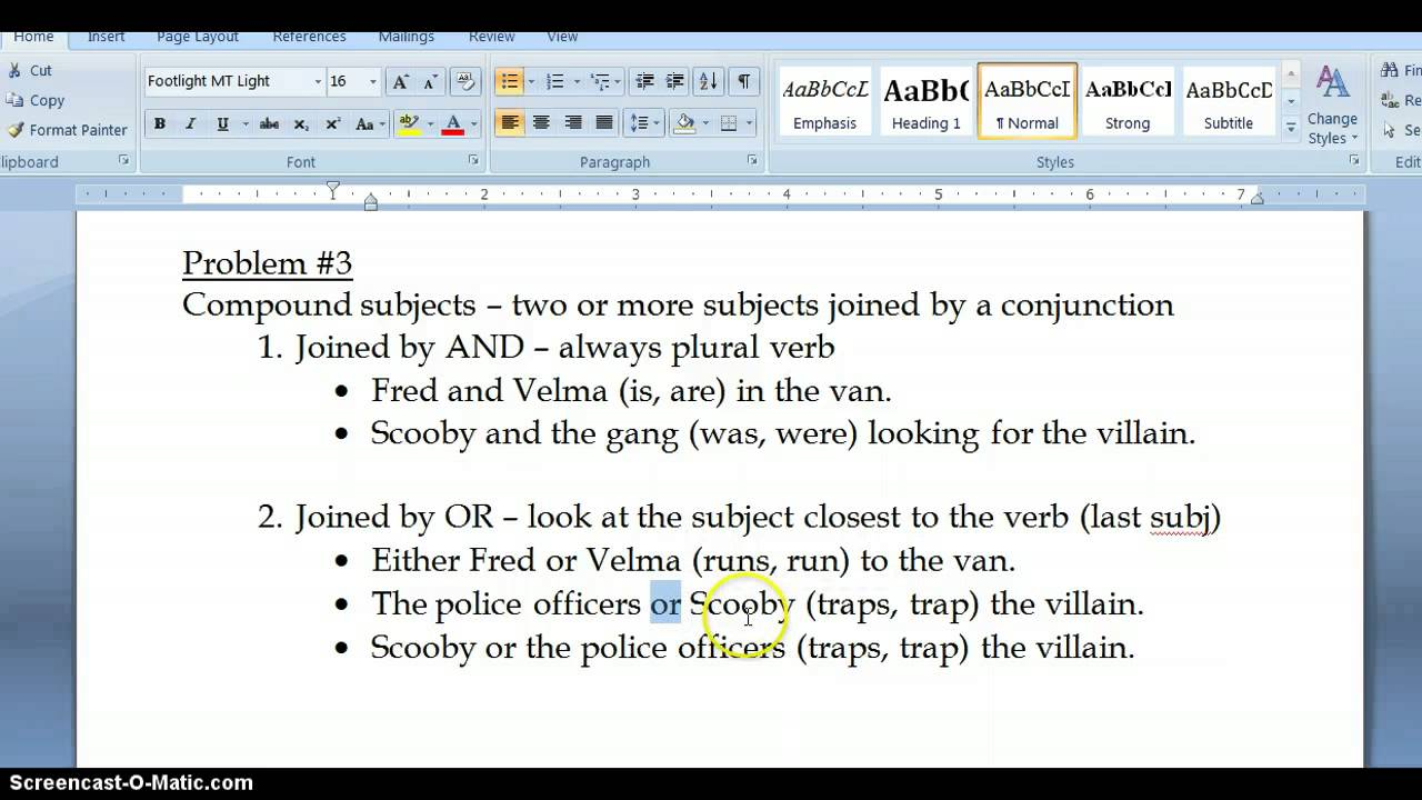 Subj Verb Agreement Compound Subjects Youtube