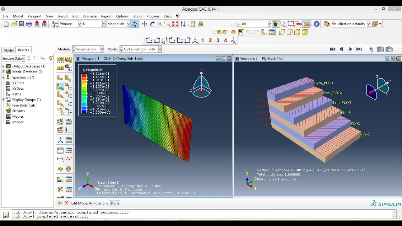 Abaqus Tutorials for beginners-Composite layup Static analysis(3D shell)